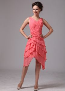 Ruched V-neck Chiffon Homecoming Dress in Watermelon Red in Eugene