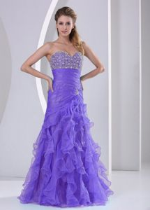 Ruffled Lilac Sweetheart Homecoming Dress with Beading and Ruches