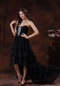 Sweetheart Black High-low Chiffon Homecoming Dresses For Prom in Kent
