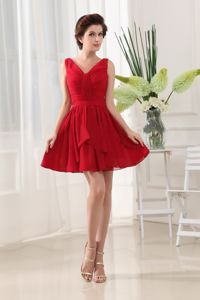 Free Shipping V-neck Red Mini Party Dress for Homecoming in Chiffon