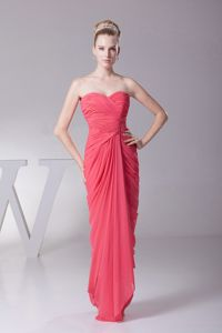 New Ruched Watermelon Red Long Homecoming Dress in Lafayette USA