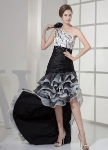 Special One Shoulder High-low Ruffled Homecoming Dress in White and Black