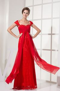 Popular Zipper-up Lace Red Formal Evening Homecoming Dress Online