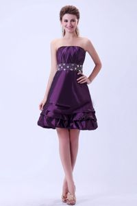 2013 Brand New Taffeta Dark Purple Short Homecoming Dress with Sash