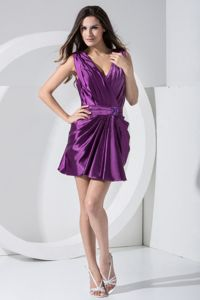 Designer V-neck Mini-length Purple Ruched Homecoming Dress Cheap
