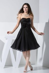 Sequin Chiffon Little Black Homecoming Dress for Juniors for a Cheap Price