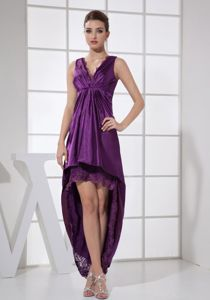Vintage V-neck High-low Purple Homecoming Dresses in The Mainstream
