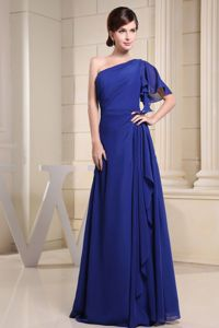 Top Design Blue Party Dress for Homecoming One Shoulder in Chiffon