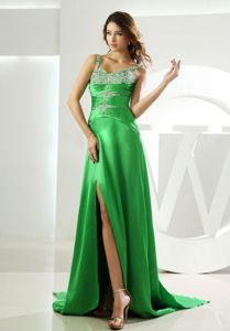 Vintage Straps Beaded Slitted Homecoming Dresses in Spring Green Online
