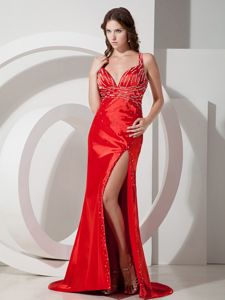 Crisscross Back Slitted Beaded Red Party Dress for Homecoming Online