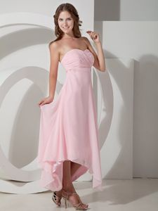 Vintage High-low Chiffon Baby Pink Homecoming Dresses in The Mainstream