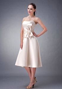 Champagne Tea-length Homecoming Dress with Bow in Noblesville USA