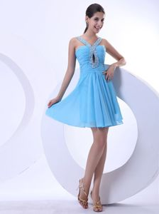 Impressive Straps Beaded Aqua Blue Dress for Homecoming Mini-length