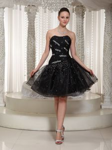 Brand New Beaded Black Organza Homecoming Cocktail Dress Online