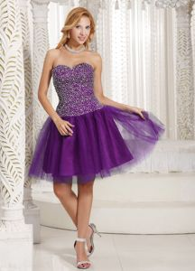 Casual Style Purple Short Party Dress for Homecoming with Beaded Bodice