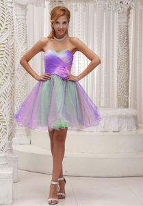 Puffy Sweetheart Colorful Short Homecoming Cocktail Dress with Beads