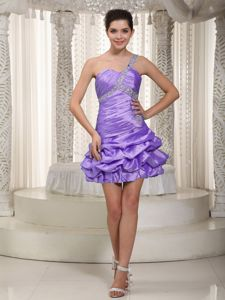 One Shoulder Beads Pick-ups Light Purple Homecoming Dress in Indiana USA