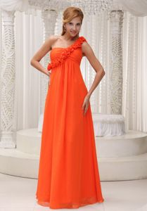 Casual Long Orange Homecoming Dress for Juniors with Handmade Flowers
