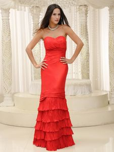Beautiful Red Floor-length Party Dress for Homecoming with Ruffled Hem