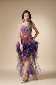 Special One Shoulder Ruffled Appliqued Homecoming Dress in Multi-color