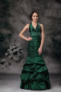 Halter Pick-ups Beaded Dark Green Homecoming Dress in Seymour USA