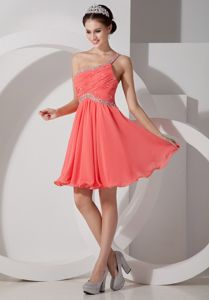One Shoulder Watermelon Short Evening Homecoming Dress with Beading