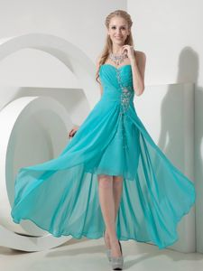 Turquoise High-low Beaded Party Dresses for Homecoming in Fashion