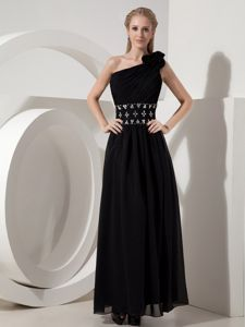 One Shoulder Ankle-length Black Evening Homecoming Dress with Beads