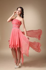 Watermelon Asymmetrical Beading Homecoming Dresses in Alcudia