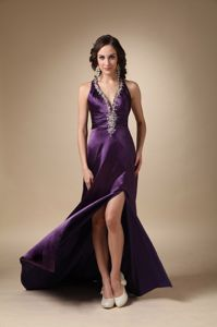 Algeciras Purple Column V-neck Brush Beading Homecoming Gown