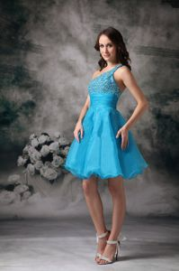 Blue One Shoulder Mini Beading Vintage Homecoming Dress in Andratx