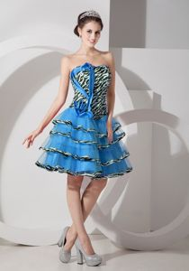 Zebra Teal Strapless Layered Sparkly Homecoming Dresses in Archidona