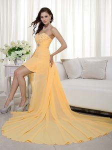 Inexpensive Orange Sweetheart High-low Beading Homecoming Dresses