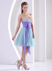 Beaded Sweetheart Multi-color Homecoming Dresses On Sale with Sash