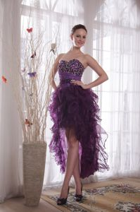 High-low Homecoming Dresses in Avila Ruffles and Beading Decorate