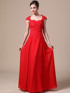 Lace Chiffon Square Red Column Tight Homecoming Dresses in Ibiza