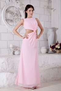 Pink Bateau Ankle-length Homecoming Dance Dresses Waist Cut Design