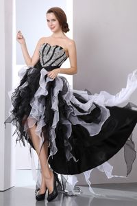 White and Black A-line High-low Beading Homecoming Dresses For Juniors