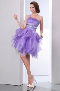 Lavender One Shoulder Short Beading Mini-length Homecoming Dresses