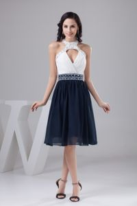 White and Navy Blue Halter Evening Homecoming Dress with Beading