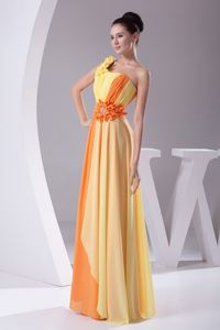 Lerida Ruched One Shoulder Yellow and Orange Homecoming Dance Dress