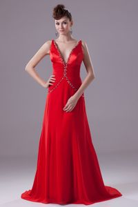 Red V-neck Brush Plus Size Homecoming Dress with Beading and Ruche