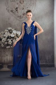 Beaded Royal Blue Homecoming Dresses For Prom with Watteau Train