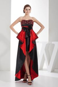 Mataro Black and Red High-low with Bow Homecoming Court Dresses