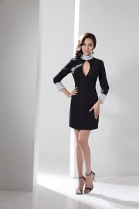 Beaded High Neck Homecoming Dresses with Cutout and Long Sleeves