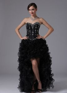 High-low Beads and Ruffles for Sweetheart Cute Homecoming Dresses
