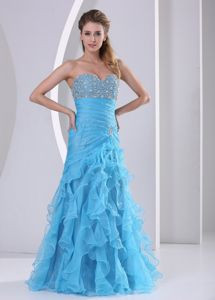 Ruffles Blue Beading and Ruche Vintage Sabadell Homecoming Dresses