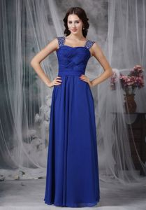 Royal Blue Straps Homecoming Dresses For Juniors with Beading and Ruche