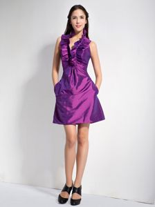 Halter Mini Sparkly Purple Homecoming Dresses in Tarifa with Ruffles
