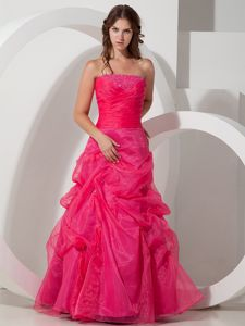 Organza A-line Hot Pink Prom Homecoming Dress with Beading for Cheap